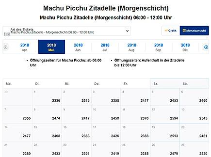 Tickets Machu Picchu Online Verfügbarkeit