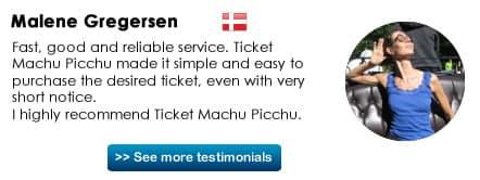 Testimonial Ticket Machu Picchu
